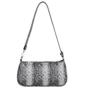 Handbags - BLACK/GREY TEXTURED FAUX SNAKESKIN HANDBAG